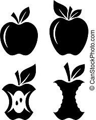 ensemble, pomme, fruits, vecteur