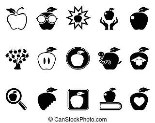 ensemble, pomme, icônes
