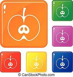 ensemble, pomme, icônes, couleur, vecteur, moitié