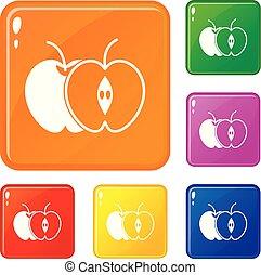 ensemble, pomme, icônes, couleur, vecteur, moitié, entier