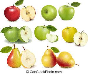 ensemble, pomme verte, rouges