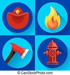 ensemble, pompier, éléments, icônes