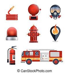 ensemble, pompier, collection, éléments