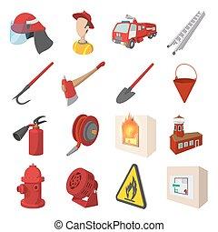 ensemble, pompier, dessin animé, icônes