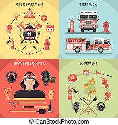 ensemble, pompier, icône