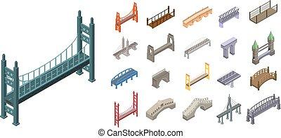 ensemble, ponts, isométrique, style, icônes