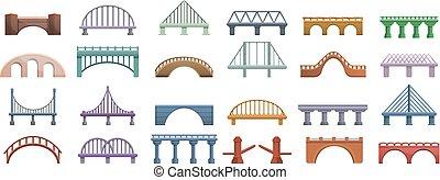 ensemble, ponts, style, dessin animé, icônes