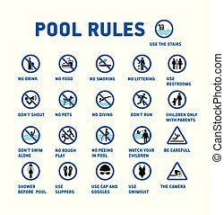 ensemble, pool., icônes, symbole, rules., piscine, natation
