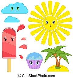 ensemble, popsicle, elements., simple, nuages, jaune, conception, bleu, isolé, dessin animé, arrière-plan., divers, fuites, blanc, plat, plage., paumes, soleil, rayé, gâteau, coloré, vert clair, dessin