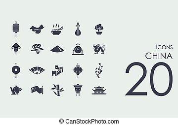 ensemble, porcelaine, icônes