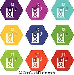 ensemble, portable, couleur, hexahedron, speacker, musique, ...