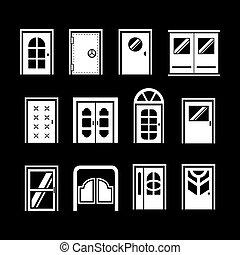 ensemble, portes, icônes