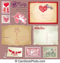 ensemble, poste, vendange, valentines, timbres, cartes postales, jour, design.