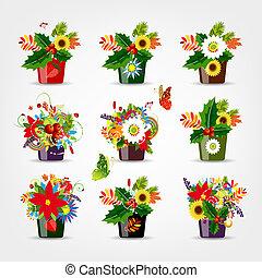 ensemble, pots, isolé, conception, floral, ton