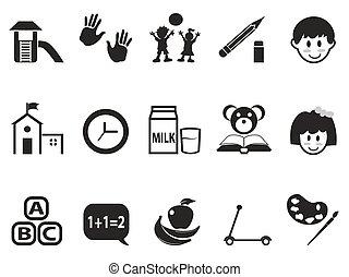 ensemble, préscolaire, icônes