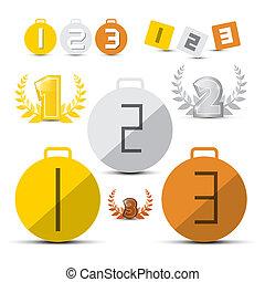 ensemble, premier, troisième, icônes, -, or, seconde, vecteur, endroit, bronze, argent, médailles