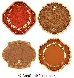ensemble, prime, or, &, cuir, étiquettes, emblems., qualité