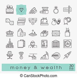 ensemble, prime, richesse, argent, icons., ligne, qualité