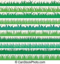 ensemble, printemps, collection, borders., arrière-plan vert, horizontal, herbe, blanc