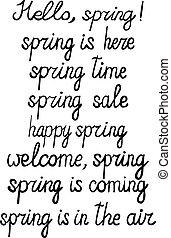 ensemble, printemps, expressions, -, vecteur, encre noire, écrit main
