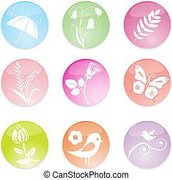 ensemble, printemps, feuilles, icons., vecteur, illustration