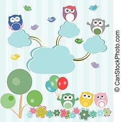 ensemble, printemps, forest., hiboux, vecteur, oiseaux