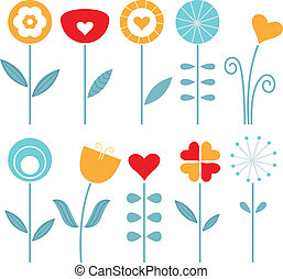 ensemble, printemps, isolé, retro, fleurs blanches