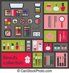 ensemble, produits de beauté, icons.