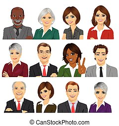 ensemble, professionnels, ouvriers, collection, avatar, équipe