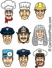 ensemble, professions, conception, icône, dessin animé, occupation