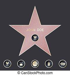 ensemble, promenade étoile, emblèmes, vecteur, cinq, categories., symboliser, renommée