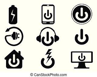 ensemble, puissance, icônes