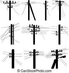ensemble, puissance, silhouettes, vecteur, ligne, poles.
