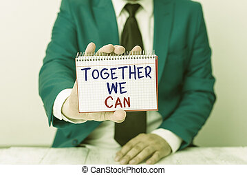 ensemble, puissant, marques, lui, can., boîte, business, texte, une, unité, space., vide, conceptuel, copie, devant, nous, possible, photo, projection, groupe, espace, tout, papier, tient, écriture, main, homme
