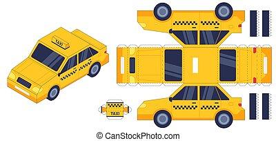 ensemble, puzzle, papier, elements., gosses, 3d, anniversaire, toy., voiture, gift., modèle, colle, vecteur, worksheet, coupure, taxi, auto, jeu, métiers
