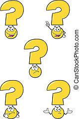ensemble, question, jaune, collection, marque