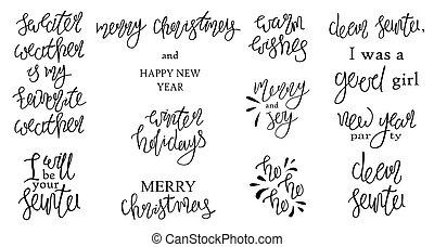 ensemble, quotes., vecteur, joyeux, année, nouveau, vacances, lettering., noël, heureux