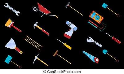 ensemble, râteau, clés, chariot, brosse, pic, grand, jardin, icônes, scie, tools:, multimètre, ladder., illustration, pelle, marteau, spatule, lavette, tournevis, vecteur, plomberie, construction, réparation