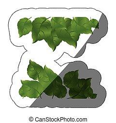 ensemble, réaliste, autocollant, deux, milieu, rangées, vert, ombre, feuilles