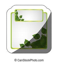 ensemble, réaliste, autocollant, milieu, vert, cadres, ombre, feuilles