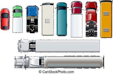 ensemble, réaliste, sommet, véhicules, isolé, arrière-plan., vecteur, vue., blanc, transport