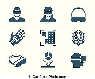 ensemble, réalité, ou, réalité virtuelle, vr, vecteur, augmented, technologie, hologramme, icône