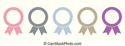 ensemble, récompense, cinq, fond, blanc, médailles