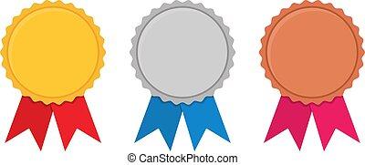 ensemble, récompense, or, bronze, blanc, argent, médailles