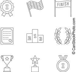 ensemble, récompenser, icônes, style, contour