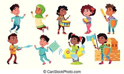 ensemble, réjouir, caractère, enfants, vecteur, jouer