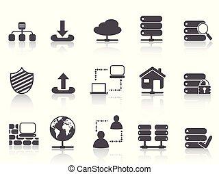 ensemble, réseau, icônes, hosting, serveur, noir