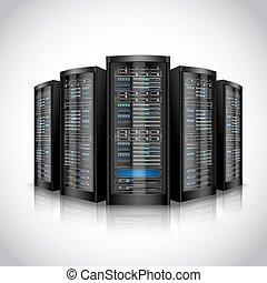 ensemble, réseau, serveurs