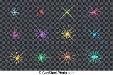 ensemble, résumé, éclats (flares), éclairage, étoiles, ou, briller