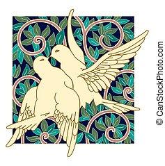 ensemble, résumé, arbre, oiseaux, arrière-plan vert, feuilles